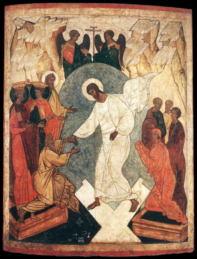 Our Lord Jesus Christ descending into hell on Good Friday.  He grasps Adam by the hand in order to lead him to paradise.